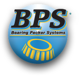 Bearing Packer Systems logo and Save time, mess & stress packing lube bearings.